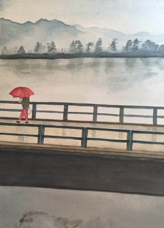 watercolor arashiyama bridge