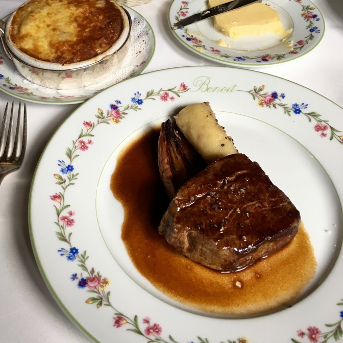 Steak with bone marrow and French Macaroni and Cheese